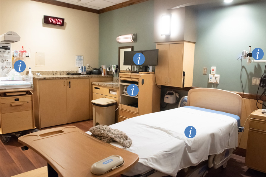 Screen Shot from Interactive Labeled Graphic of Labor and Delivery Room
